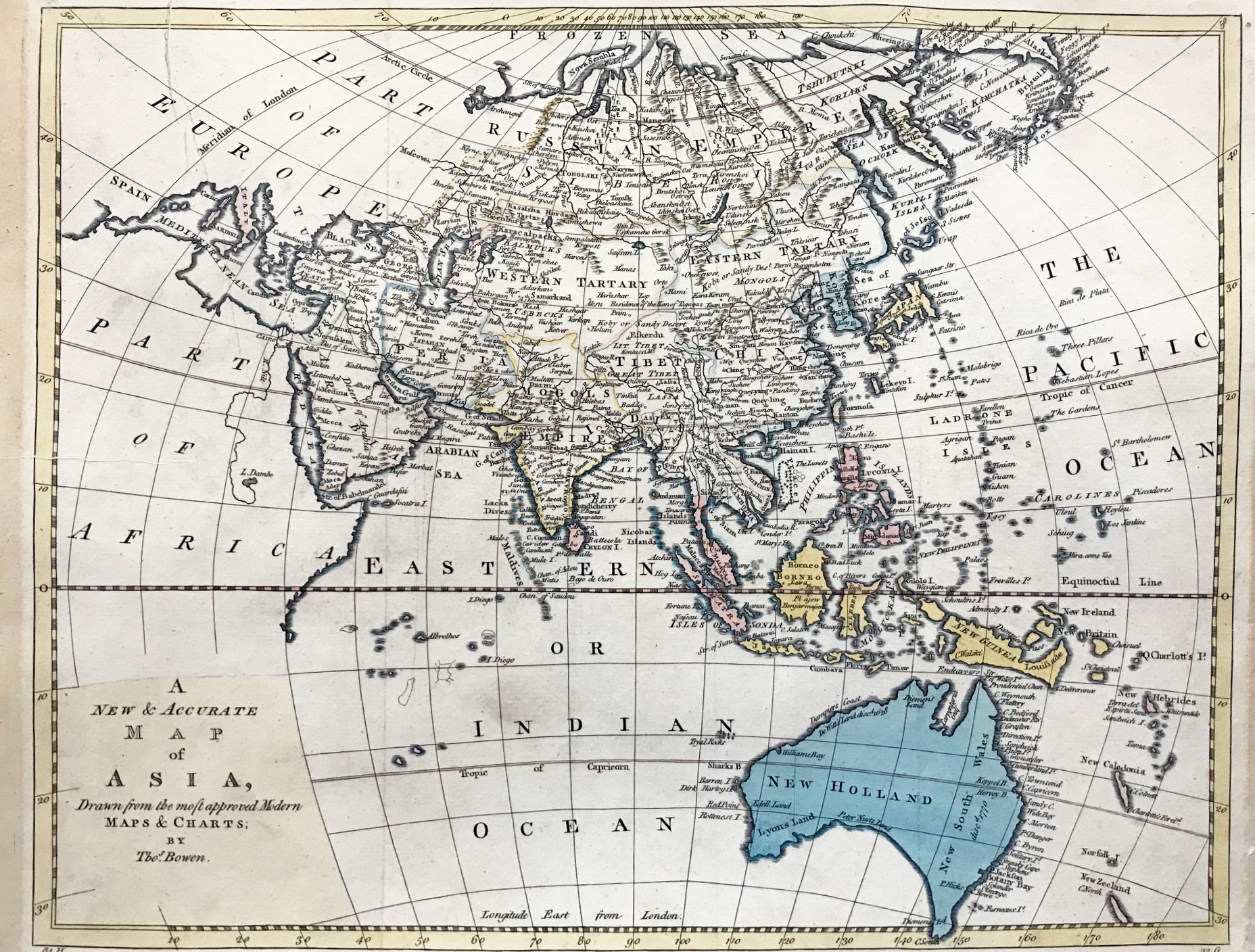Map Of Modern Asia.1782 Bowen Thomas A New And Accurate Map Of Asia Drawn From The Most Approved Modern Maps And Charts By Thos Bowen